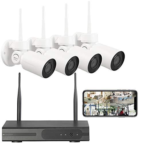 VisorTech Überwachungsset: Funk-Überwachungssystem mit HDD-Rekorder, 4 PT-Kameras, App, H.265 (Kamera Set)