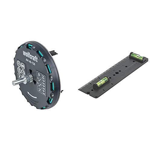 wolfcraft Lochsäge 5978000 – Verstellbarer Universal-Kreisschneider für den Akkuschrauber und die Bohrmaschine & 4050000 1 Schablone für Hohlwanddosen