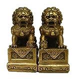 Fashion158 Par de estatuas de león para Puerta de Perro Fengshui Foo Fu de latón Chino