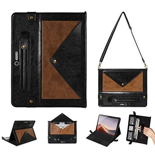QGT Tablet Case for Microsoft Surface Pro 4/5 / 6/7 Envelope Color Matching Horizontal Flip PU Leather Case with Card Slots & Pen Slots & Holder & Wallet & Photo Frame & Shoulder Strap