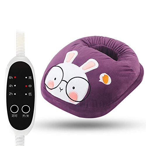 Elektrischer Fußwärmer, Fußwärmer mit 3 Temperaturstufen waschbarer Fußsack Füße aufwärmen mit dem Wärmeschuh Fusssack Fußwärmer-Lila Hase