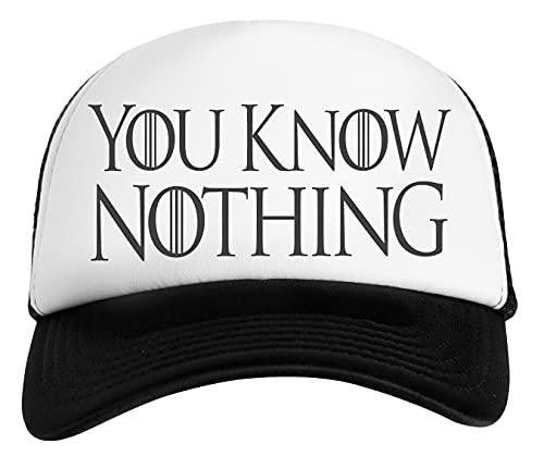 You Know Nothing Gorra De Béisbol Unisex Niños Blanca Negra White Black Kids Baseball Cap