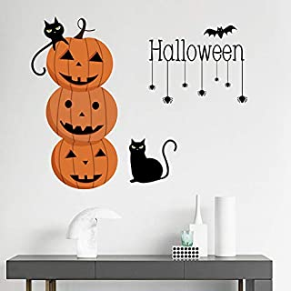 Holly LifePro Pumpkin Black Cat Bat Spider Web Party Supplies Happy Halloween Removable Decal Wall Sticker for Bar Living ...