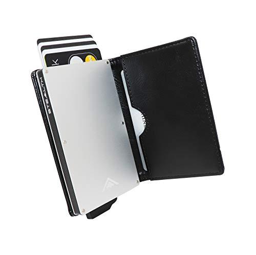 STEALTH Wallet - RFID Bloqueo de la Tarjeta de crédito Ejector de la Cartera - Cartera de Cuero Minimalista para Tarjetas y Efectivo con protección RFID (Plata con Cuero Negro)