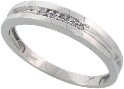 10k White Gold Mens Diamond Wedding Band Ring 0.04 cttw Brilliant Cut, 5/32 inch 4mm wide