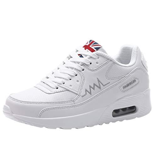 Anliyou Sneaker Damen Artmungsaktiv Damenschuhe Keilsneaker Plateauschuhe Sportschuhe Schnürschuhe Flach Schuhe aus PU Freizeitschuhe Schwarz Weiß Rosa Laufschuhe Outdoorschuhe