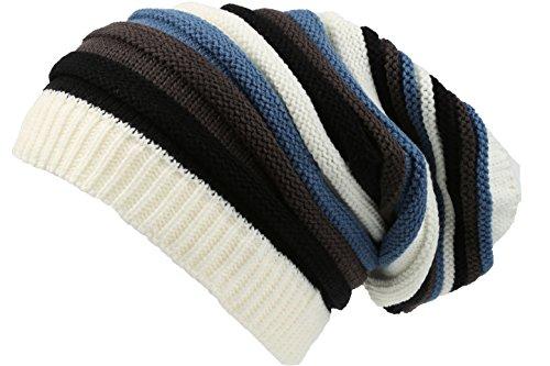 Sakkas 16144 - CeeLo Long Tall Slouchy Unisex Striped Ribbed Kint Adjustable Beanie Hat - Cream/Blue - OS