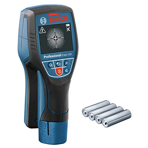 Bosch Professional Ortungsgerät D-tect 120 (4 x AA Batterien, max. Ortungstiefe für Kunststoffrohre/Holzunterkonstruktion/spannungsführende Leitungen/Eisenmetalle: 60/38/60/120/120 mm)