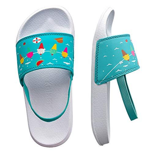 Knixmax Unisex-Kinder Dusch- & Badeschuhe Jungen Mädchen rutschfest Leicht Bequem Shower Hausschuhe Pantoffeln Indoor Outdoor Mädchen Blau Gr.26 EU