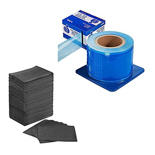 JMU Dental Bibs, Disposable 3 Ply Tissue Napkin Waterproof,13' x 18' Black, Pack of 125,Barrier Film Blue, Barrier Film Roll with Dispenser Box, 4'x 6' 1200 Sheet Adhesive Barrier Film for Dental Med