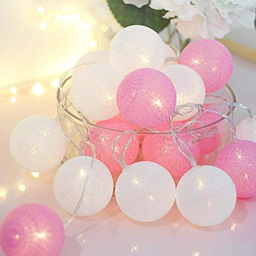 ALUNME 10 LED Warm Light Cotton Ball String Lights,5 FT Led Pink Ball String Lights with2 AA Battery Powered Home Indoor Room Decor