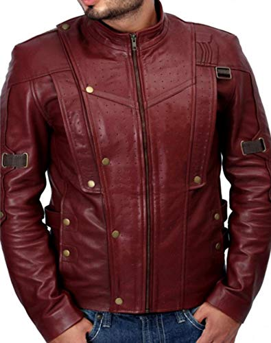 Leatherly Men's Guardians of The Galaxy Chris Pratt Star Lord Real Leather Jacket