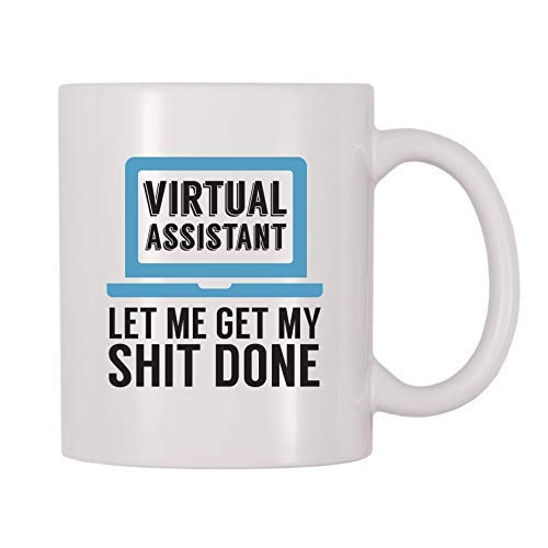 Queen54ferna Virtual Assistant Let Me Get My Shit Done Tazas de café de cerámica para hombres, mujeres, mamá, padre, maestro, taza de Navidad, cumpleaños, jubilación, regalos de graduación