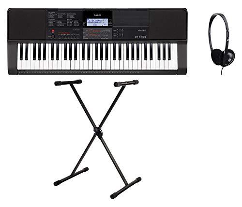 Casio CT-X700 Keyboard Set (digitales Keyboard mit 61 Tasten, Set inkl. X-Keyboardständer und Multifunktionskopfhörer, ideal für Anfänger) Schwarz