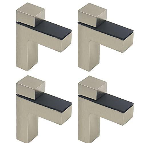 Clips ajustables para estantes, soportes de estante de cristal, clips ajustables en forma de F, soporte de pinza de vidrio para hacer tu hogar organizado y ordenado (4 unidades, marrón)