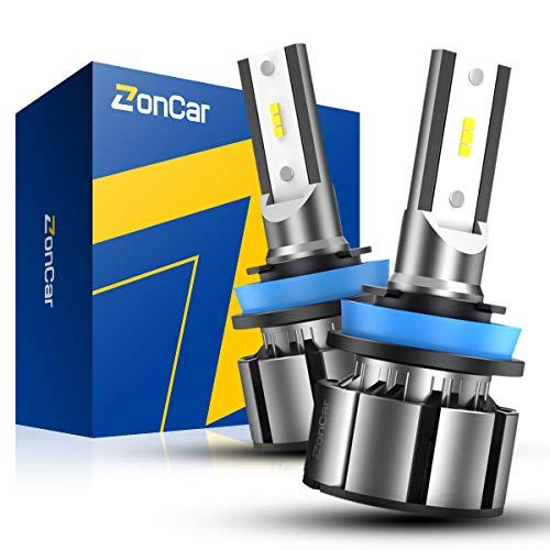 ZonCar H11/H9/H8 LED Headlight Bulbs 15000 Lumens, 400% Brightness Super Bright, 6500K Cool White, Low Beam/Fog Light, Quick Installation, Pack of 2