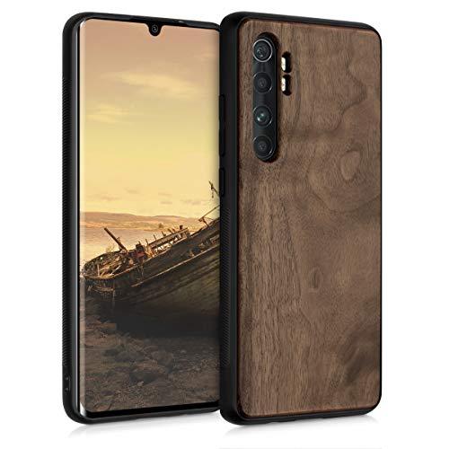 kwmobile Bumper Schutzhülle kompatibel mit Xiaomi Mi Note 10 Lite - Holz Hülle Handy Hülle Cover Dunkelbraun