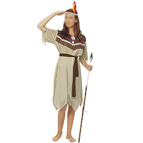 Feynman Disfraz Indio para Mujer Jefe Vestidos Primitivos Top y Corpio para Fiesta de Halloween Carnaval de Halloween