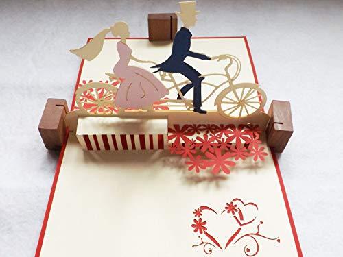 新作!全100種以上 立体ポップアップ グリーティングカード:花畑と自転車カップル LO-057 結婚・招待状・お祝い・ギフトカード・友達・ウェディング・おめでとう・結婚祝い・感謝状・告白・招待状・出産祝い・メッセージカード・バレンタイン