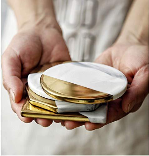 Annco - Sottobicchieri in marmo, bordo dorato, 4 pezzi, sottobicchiere per latte, sottobicchieri per bevande, regalo di matrimonio, tappetino refrigerante, tappetino rotondo per la casa e la cucina