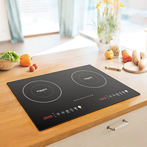 Electric Induction Cooktop, FOGATTI Built-in & Portable Versatile Induction Stove 2 Burners, 1800 Watt w/ 10 Power Levels, Sensor Touch Control, 240 Mins Timer, Auto Shut Off & Safety Lock