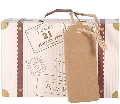 50 Unids/Set Mini Maleta Caja de Regalos Caja de Dulces Novedosa Caja de Papel Kraft Vintage Caja de Regalo de Dulces de Cartón para Decoración de Cumpleaños de Boda