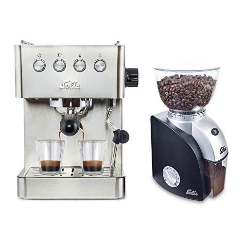 Solis Barista Gran Gusto 1014 Kaffeemaschine mit Mahlwerk - Espressomaschine mit Dampf- und Heißwasserfunktion & Scala Plus 1661 Elektrische Kaffeemühle - Edelstahl