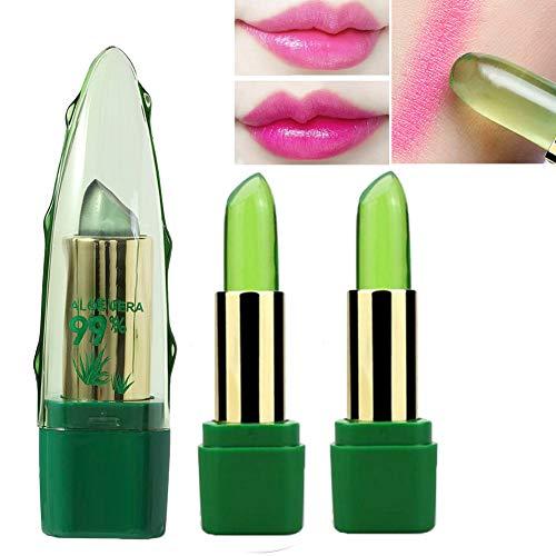Farbwechsel Lippenstift Aloe Vera, 99% Aloe Vera Farbwechsel Lippenbalsam Gelee Lippenstift Temperatur Farbwechsel Lippenstift Magischer Lippenstift Farbwechsel Feuchtigkeitscreme Lippenstift (3pcs)