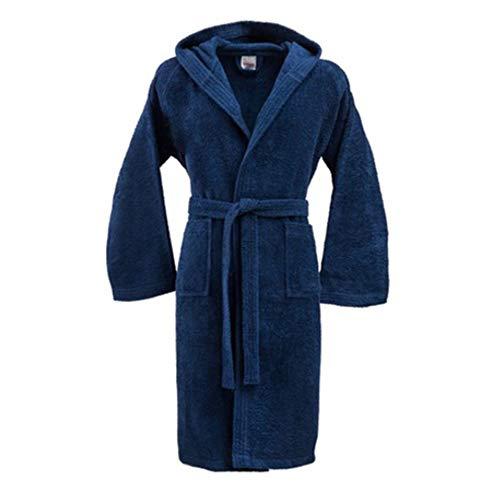 Bassetti Peignoir avec capuche, 100 % coton, pour homme et femme Taglia L, 165-175 cm bleu marine