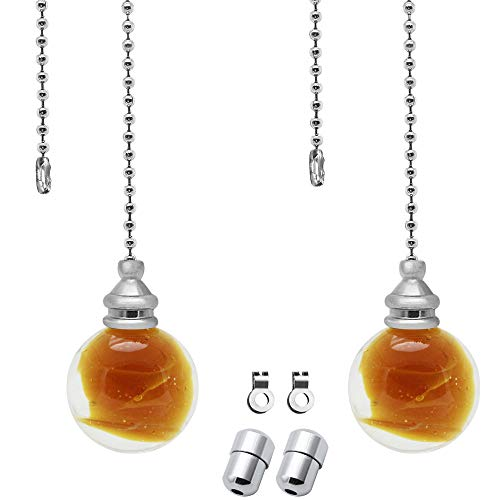 SPTwj 2 Pack Light Pull Chain Extension with Amber Glass Ball Chain 100cm Length Blind Cord Pull Handle Weight Pull Cord for Bathroom Toilet Light/Ceiling Light Fan Switch Includes Chrome Connectors