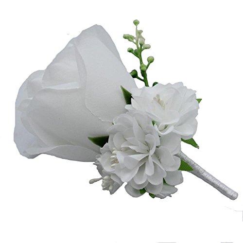 WeddingBobDIY Boutonniere Buttonholes Groom Groomsman Best Man Rose Wedding Flowers Accessories Prom Suit Decoration White