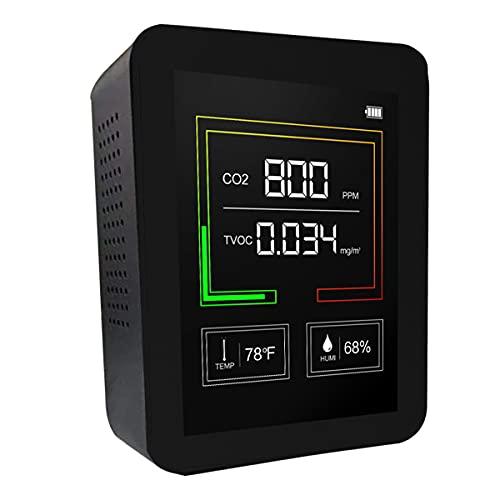 mnzncrfee Monitor di qualità dell Aria, rilevatore di qualità dell Aria, per TVOC Temperatura e umidità, Tester di formaldeide con Schermo LCD,Nero