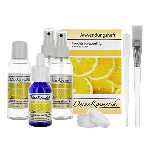 Fruchtsäurepeeling 2,5-70%, 0,5 pH, Profiheimbehandlung, AHA Glycolsäure Peeling, Fruchtsäure Peeling, Komplett Sets (Sofort-Starter-Set/Doppel Neutralisator, 30ml)