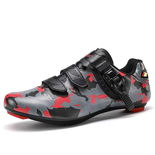 Mens Road Bike Shoes Cycling Look Delta SPD Touring Indoor 3 Straps Riding Shoes with Buckle,Camouflage Red,EU44