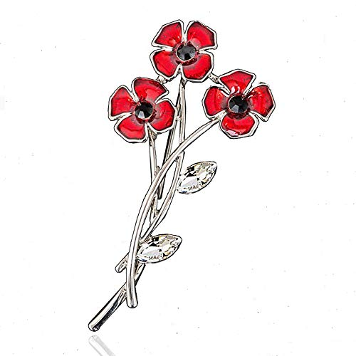 Klaritta Elegant 3 Poppies Bunch of Poppy Flower Burgundy Red Silver Brooch Pin BR470S