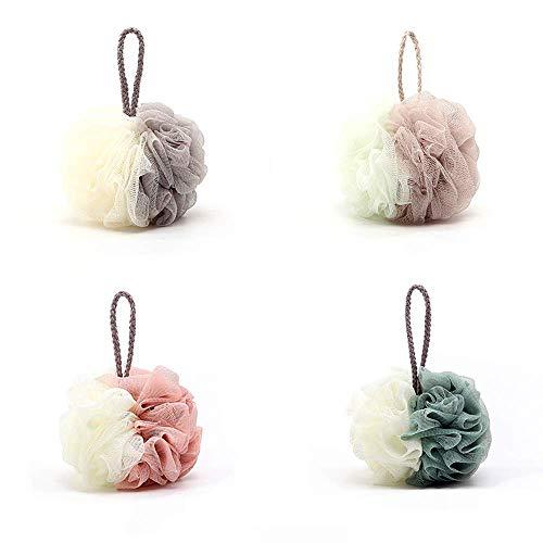 4 個入 ボディスポンジ スペル色 ボディウォッシュボール ボディークリーナー シャボンボール 背中も洗える 泡立てネット 花ボディースポンジ 4色