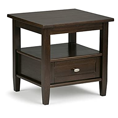 Simpli Home Warm Shaker Solid Wood End Side Table, Tobacco Brown