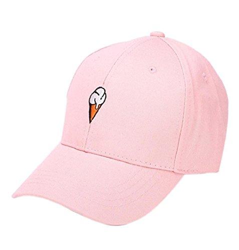 ZEZKT-Zubehör❤️ Unisex Baseball Cap Eis Weiß Rosa Hut Sonnenschirm Mützen Größe Frühling und Sommer Sport Baseballmütze Mode Ente Zunge Sonnenhaube Unisex Hut (Rosa)