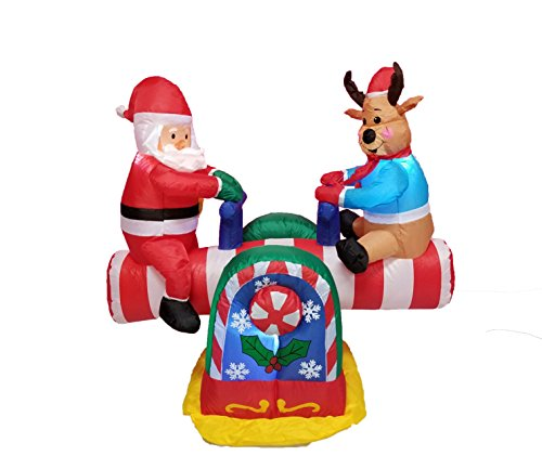 BZB Goods 4 Foot Animated Christmas Inflatable Santa Claus and Reindeer on Teeter Totter Outdoor Yard Decoration