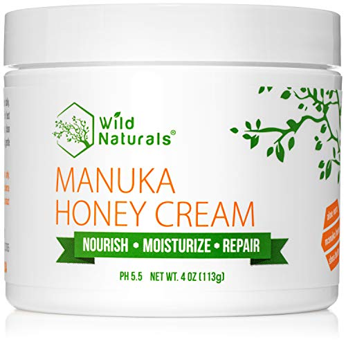 Wild Naturals Manuka Honey Cream : Soothing Dry Skin Lotion, Daily Hydrating Moisturizer for Face and Body, Aloe Vera + Shea Butter + Coconut Oil + More, Light and Non-Greasy