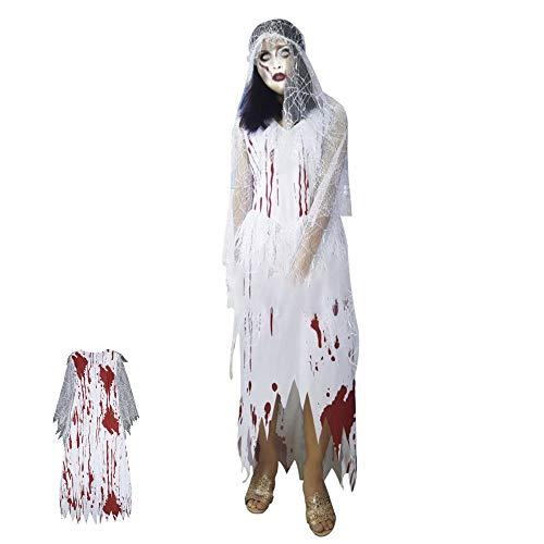 Halloween Kostüm Zombie Krankenschwester Kostüm für Damen Gruselige Horror mit Kopfbedeckung Perfekt für Halloween, Fasching & Karneval für 155-178cm Damen (Typ 3)