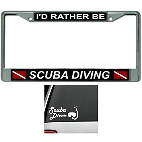 Butler Online Stores I'd Rather Be Scuba Diving Scuba License Plate Frame Bundle with Scuba Diving Mask Decal