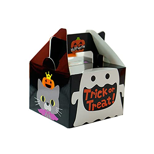 OSELLINE Halloween lindo calabaza fantasma caramelo cajas 4 estilos truco o trato caramelo caja niño favor galleta caja feliz Halloween decoraciones B