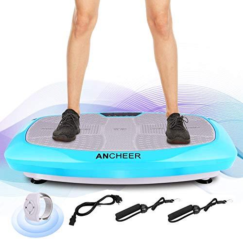 ANCHEER Pedane Vibranti Piattaforma Fitness 3D Vibration | Grande Superficie Curva Antiscivolo | 2 Fasce Elastiche per Allenamento | Schermo LCD (Blu 2)