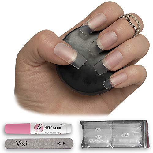 By Vixi 100pcs LONG SQUARE NAIL SET with FREE GLUE & PREP FILE, 10 Sizes – Clear Express Full Cover False Fingernail Extensions for Salon Professionals & Home Use