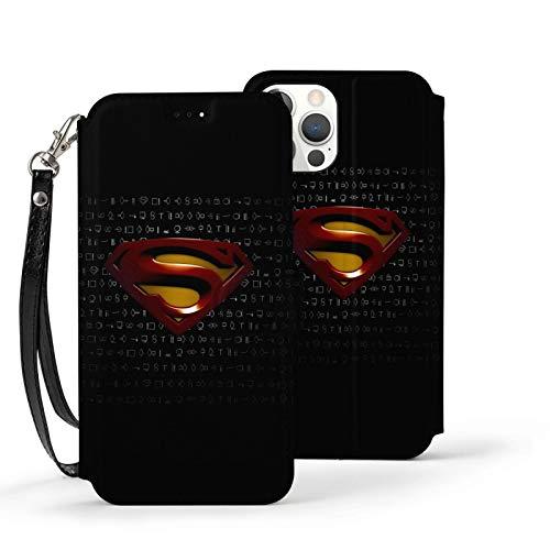 VOROY Superman-Dc A-P-P-L-E - Funda de piel para iPhone 12 (con tarjetero), color negro