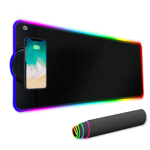 YIMISHCZ 10W Wireless Charger Extended Large Gaming RGB Mouse Pad (31.5 x 12 inches) Non-Slip Rubber Base 10 Lighting Modes 4mm Ultra Thick for Office and Home Wireless Charging Mobile Phone Devices