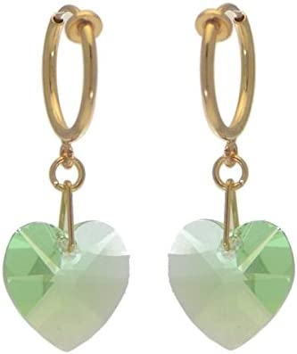 VALENTINE CERCEAU Gold Plated Peridot Crystal Heart Clip On Earrings