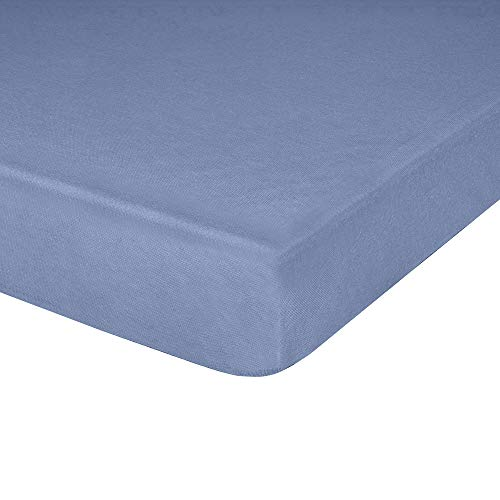 IDEAhome Jersey Knit Fitted Cot Sheet, Soft Material, Suitable for Bunk Beds, Camping, RVs, Folding Beds, Boys & Girls, 75' x 33' with 8' Pocket, Denim, 1 Pack