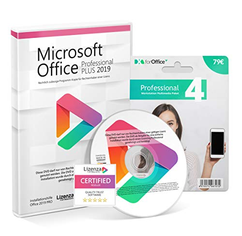 Microsoft® Office 2019 PRO (Professional Plus) DVD mit original Lizenz. Lizenza® Profi Bundle . Alle Sprachen 64bit inkl. X for Office